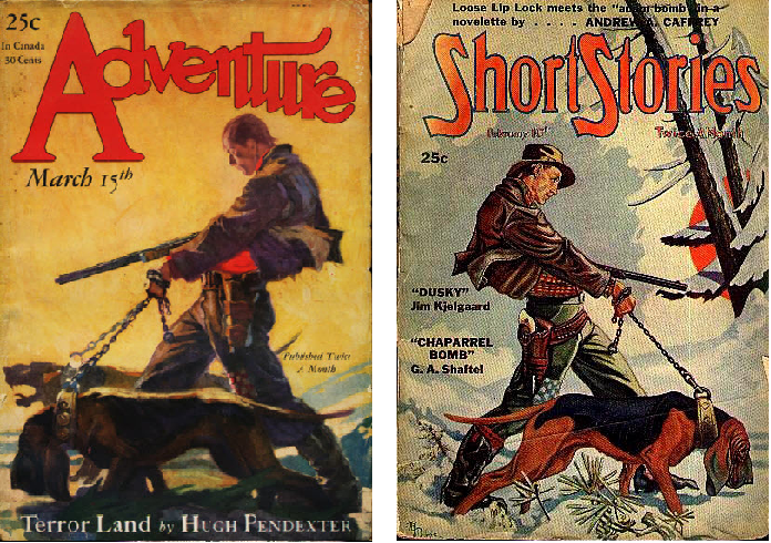 Adventure March 15 1928 cover by Dominic Cammerota vs Short Stories February 10 1946 cover by A. R. Tilburne
